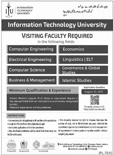 Information Technology University ITU Lahore Jobs 2021 – Apply Online
