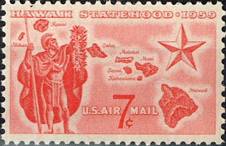US Hawaii Islands Map and King statehood stamp 1959