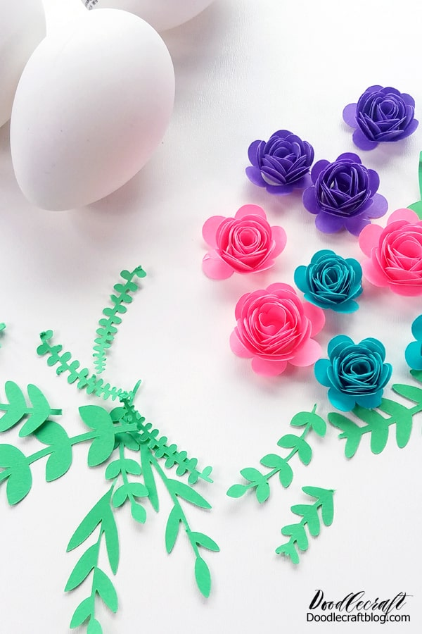 Rolled paper flowers ready to decorate Easter eggs using the Cricut Joy