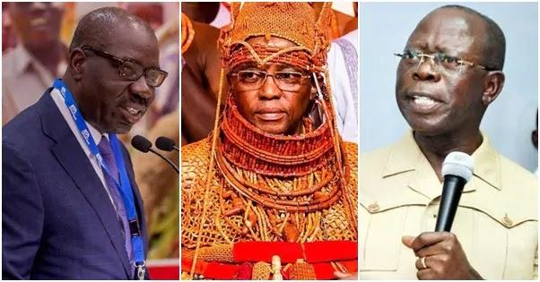 Oshiomhole accuses Obaseki of disrespecting the Edo tradition.
