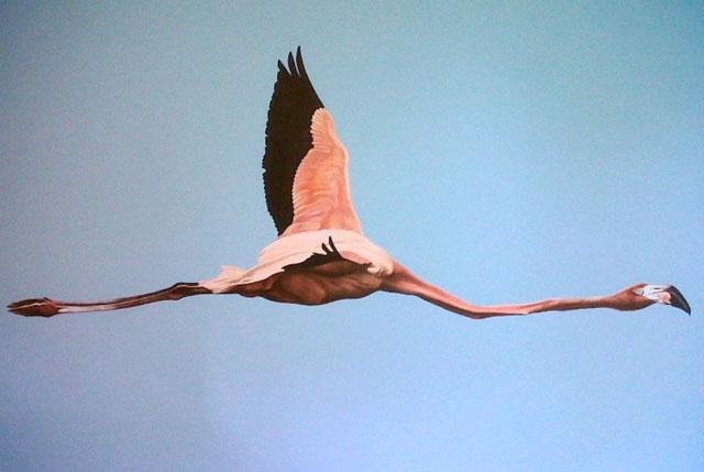 Scott Zaragoza, flying flamingo paiting