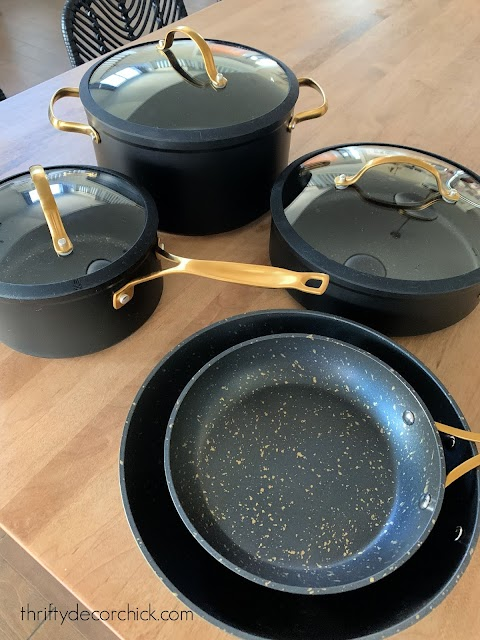 thyme and table black cookware