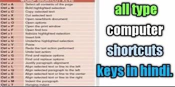 250+ basic computer shortcut keys in Hindi 2021