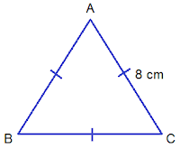 equilateral triangle of length 8 cm