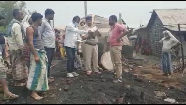 शॉर्ट सर्किट से लगी आग में आठ घर जल कर हुआ राख