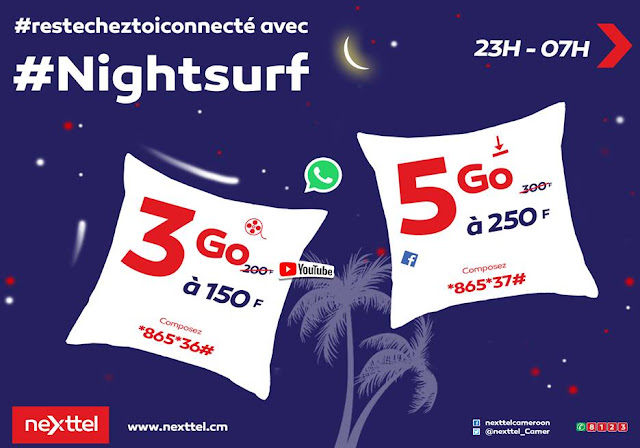 Nexttel Cameroon Internet Offers: 3Gb for 150F or 5Gb for 250F or 10Gb for 500F