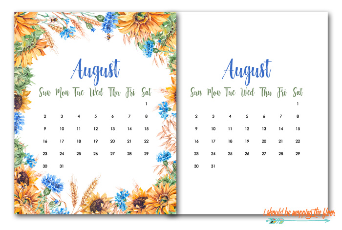 Free August Calendar Printables