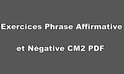 Exercices Phrase Affirmative et Négative CM2 PDF