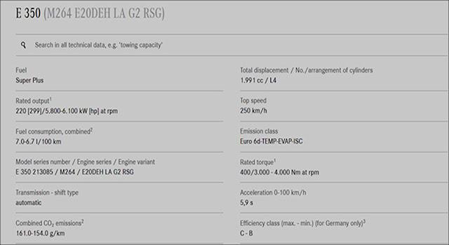 Thông số động cơ trên Mercedes E350 AMG 2019