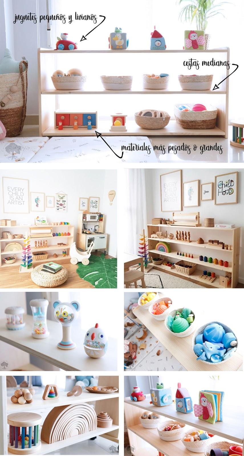 juguetes para decorar una habitación infantil Montessori ordenados y cloasificados