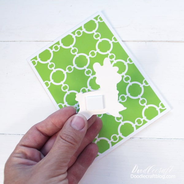 Step 2: Pick Favorite Sticker! Select the sticker you love and remove it from the plastic sheeting. Now peel off the sticker backing from the foam square.