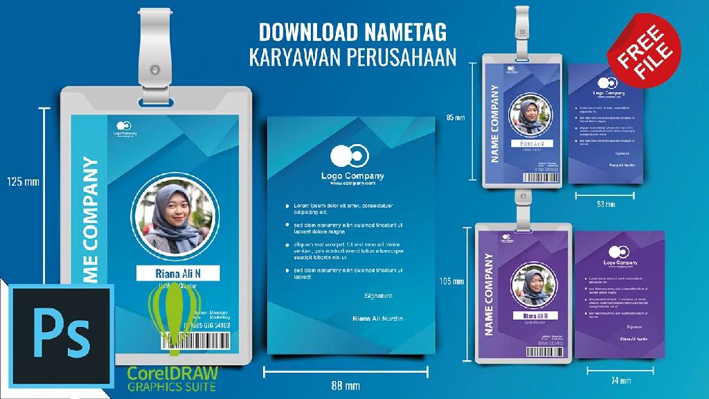 Download Format ID Card Karyawan CorelDraw Dan photohsop