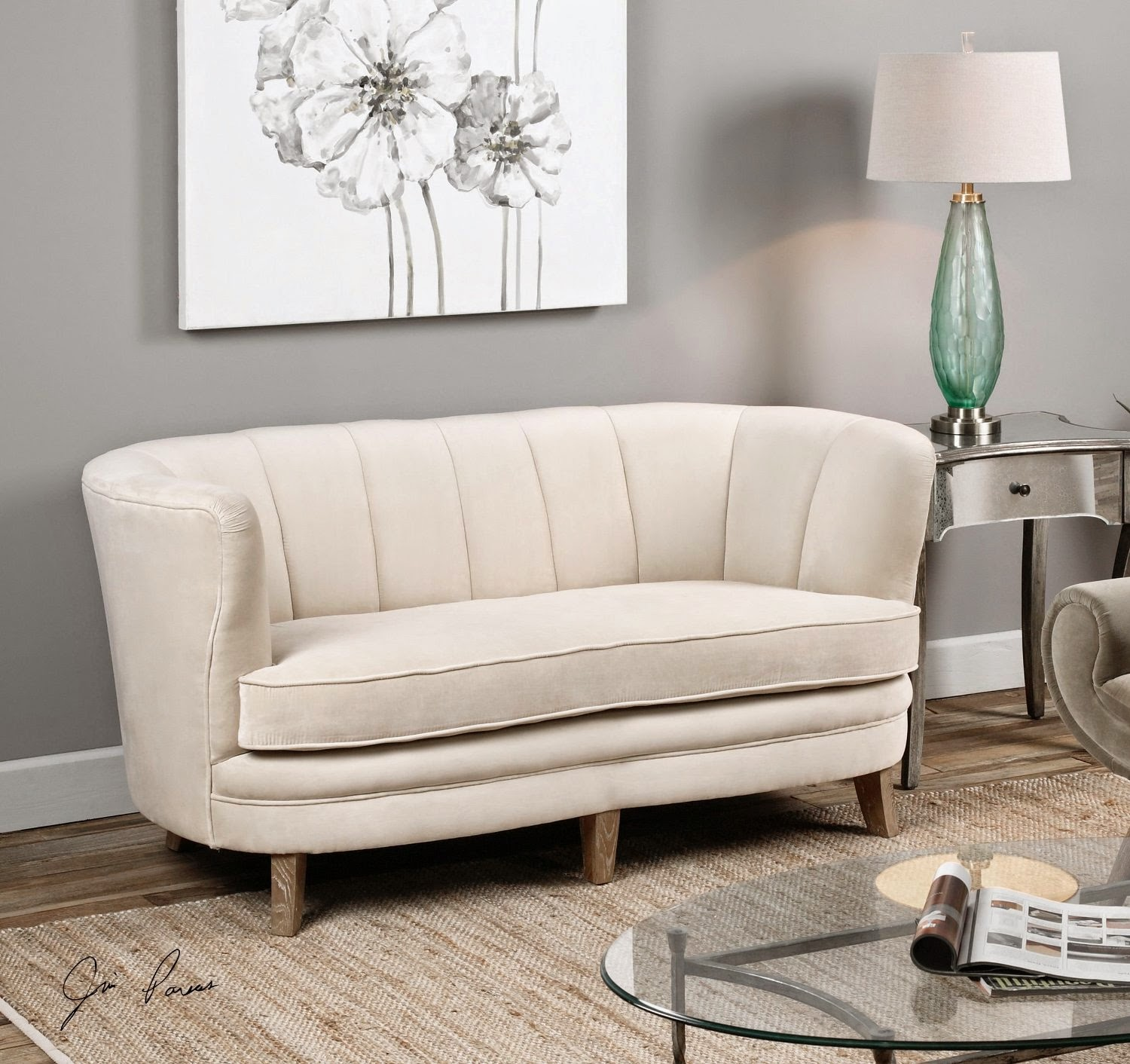 plush white velvet curved back sofa for sale