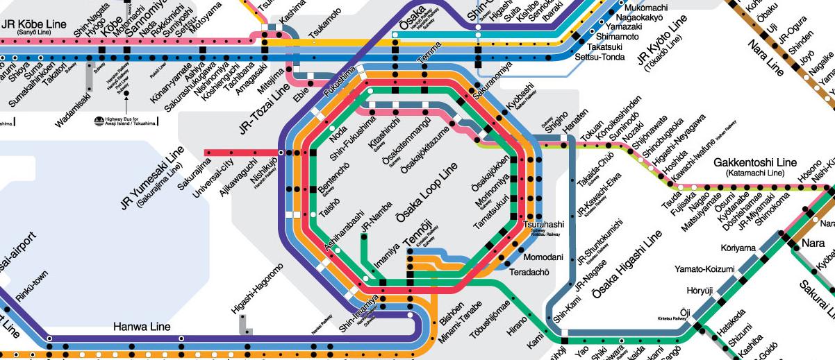 Osaka Subway Map T Shirt.Faizal Fara Fiesya Fahri Japan Travelogue Osaka