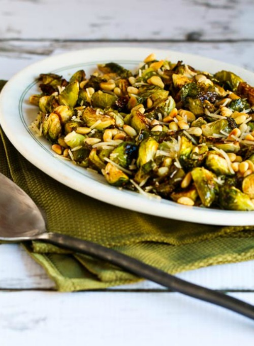 Roasted Brussels Sprouts with Balsamic, Parmesan, and Pine Nuts found on KalynsKitchen.com