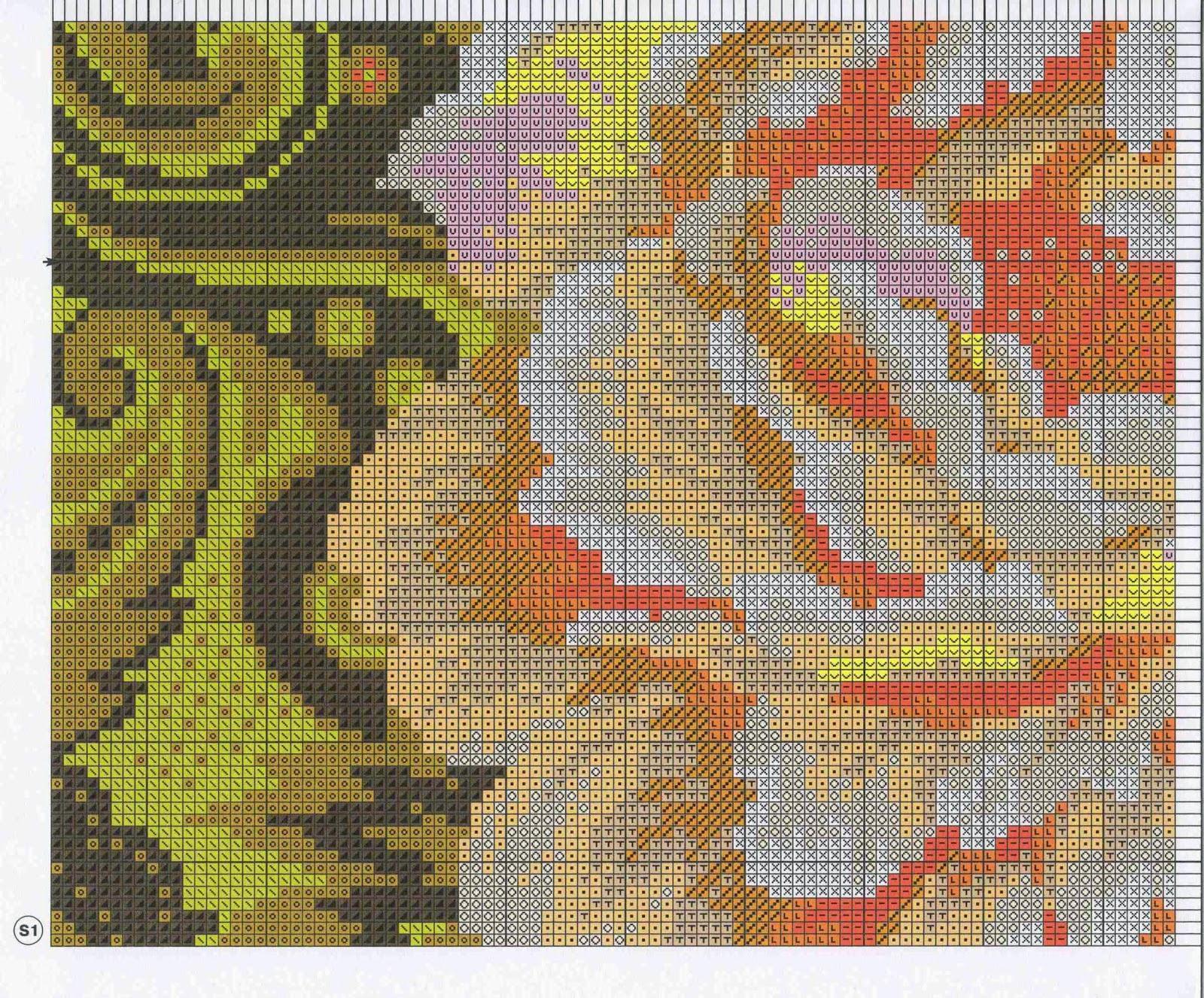 схема вышивки подушки на черной канве