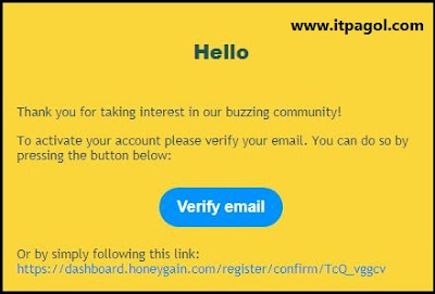 Honeygain App verify link