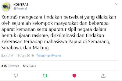 Beberapa Tweet Penolakan Rasialisme kepada Papua
