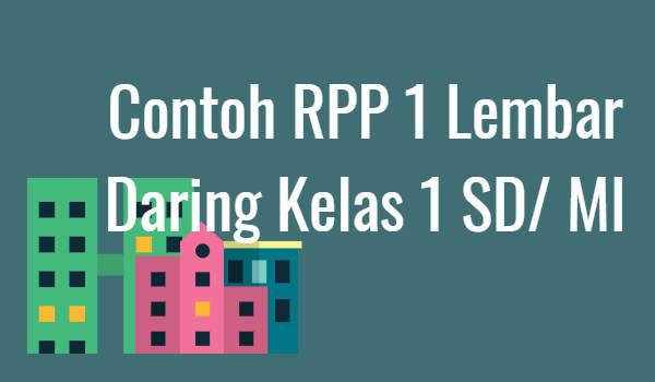 Contoh RPP 1 Lembar Daring Kelas 1 SD/ MI