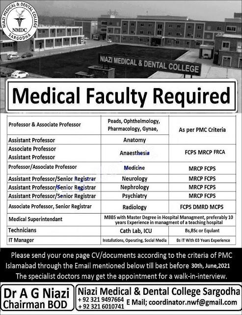 Niazi Medical and Dental College NMDC Sargodha jobs 2021 Latest Advertisement