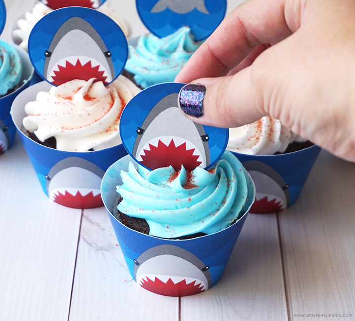 Free Printable Shark Week Cupcake Toppers into Cupakes