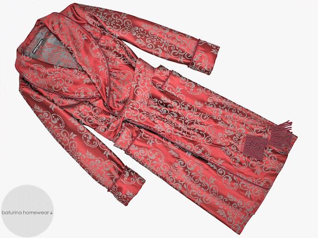 mens red paisley robe cotton dressing gown lightweight floor length gentleman smoking jacket