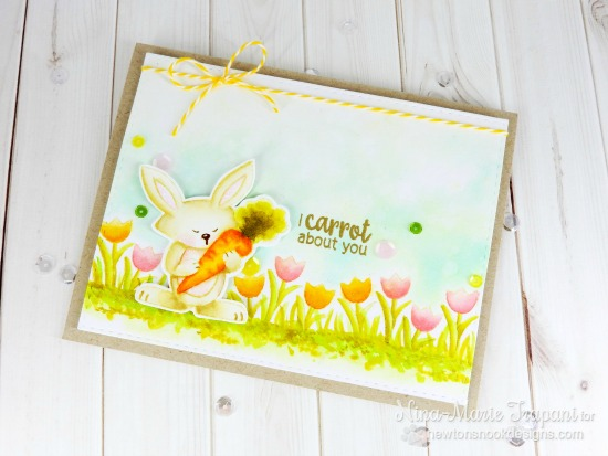 Bunny card by Nina-Marie Trapani | Hello Spring Stamp set by Newton's Nook Designs #newtonsnook #bunny #spring