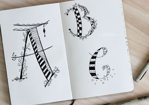 Sketchbook handlettering abc