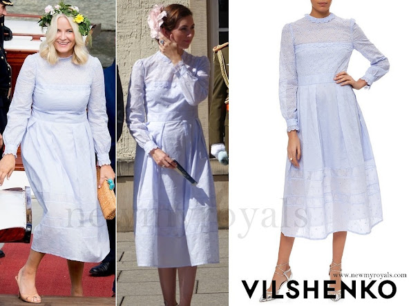 Crown Princess Mette Marit wore Vilshenko Lavender Midi Dress