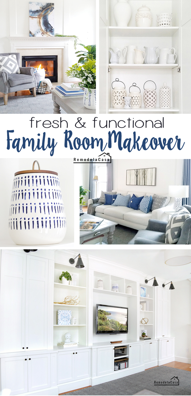 Fresh and functional white and blue modern family room