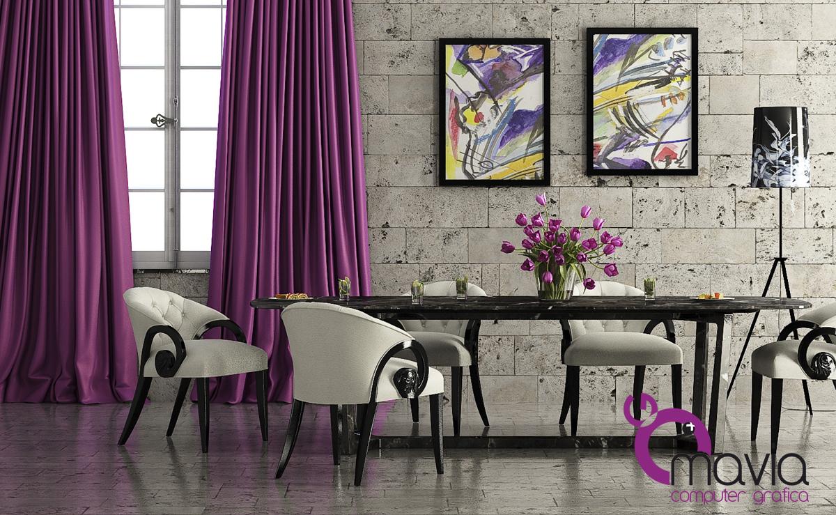 Arredamento di interni: Sala da pranzo moderna - 3d arredamento casa e rendering fotorealistico ...