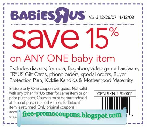 Babies R Us Coupons. Babies R Us is one of the most popular retailers of baby and nursery products. You can find a lot of baby clothing, baby gears, accessories, furniture and more.