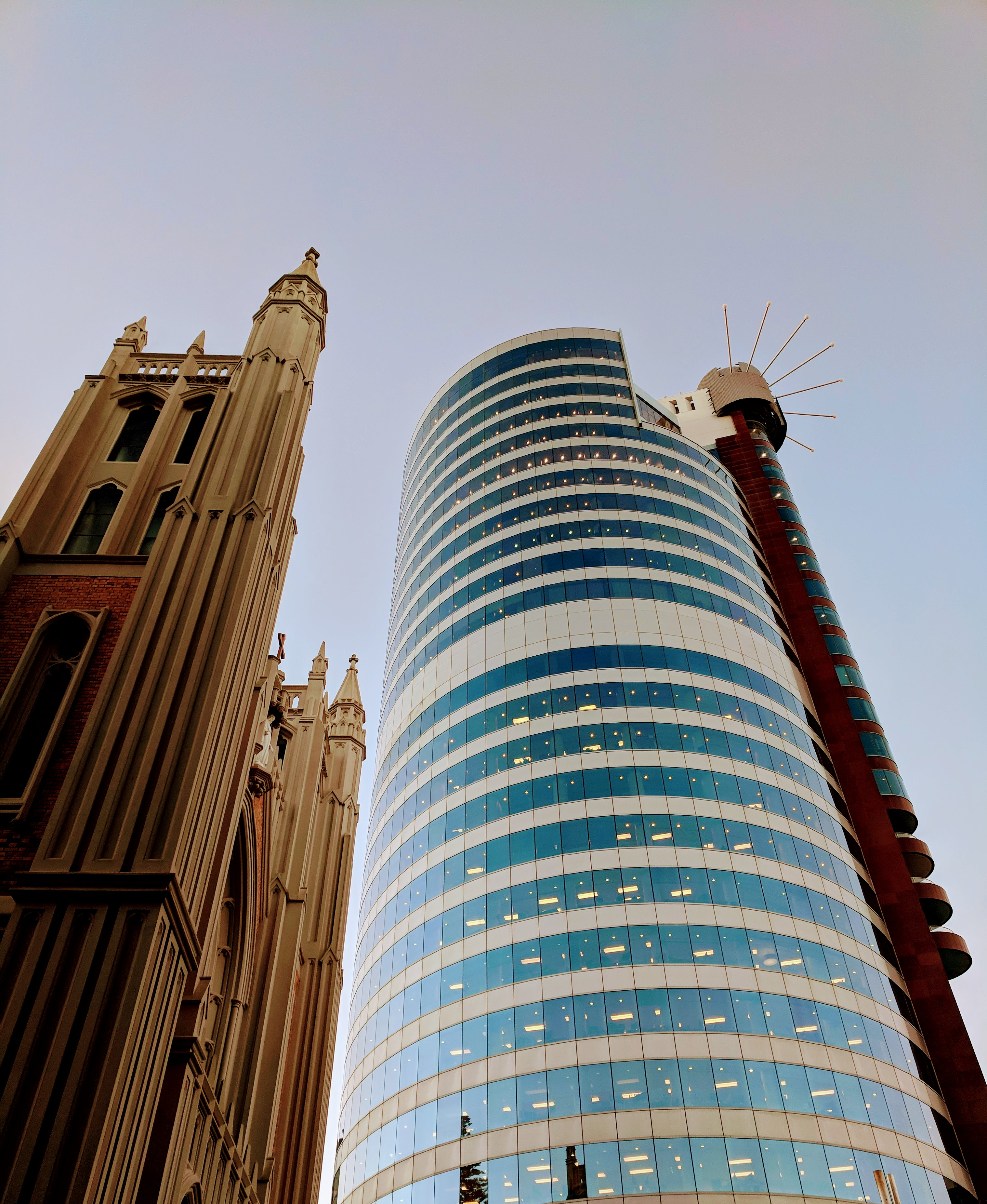 Church and tower block in Wellington