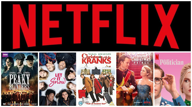 collage - Netflix logo, Peaky Blinders, Let It Snow, Christmas With The Kranks, The Christmas Prince, The Politician