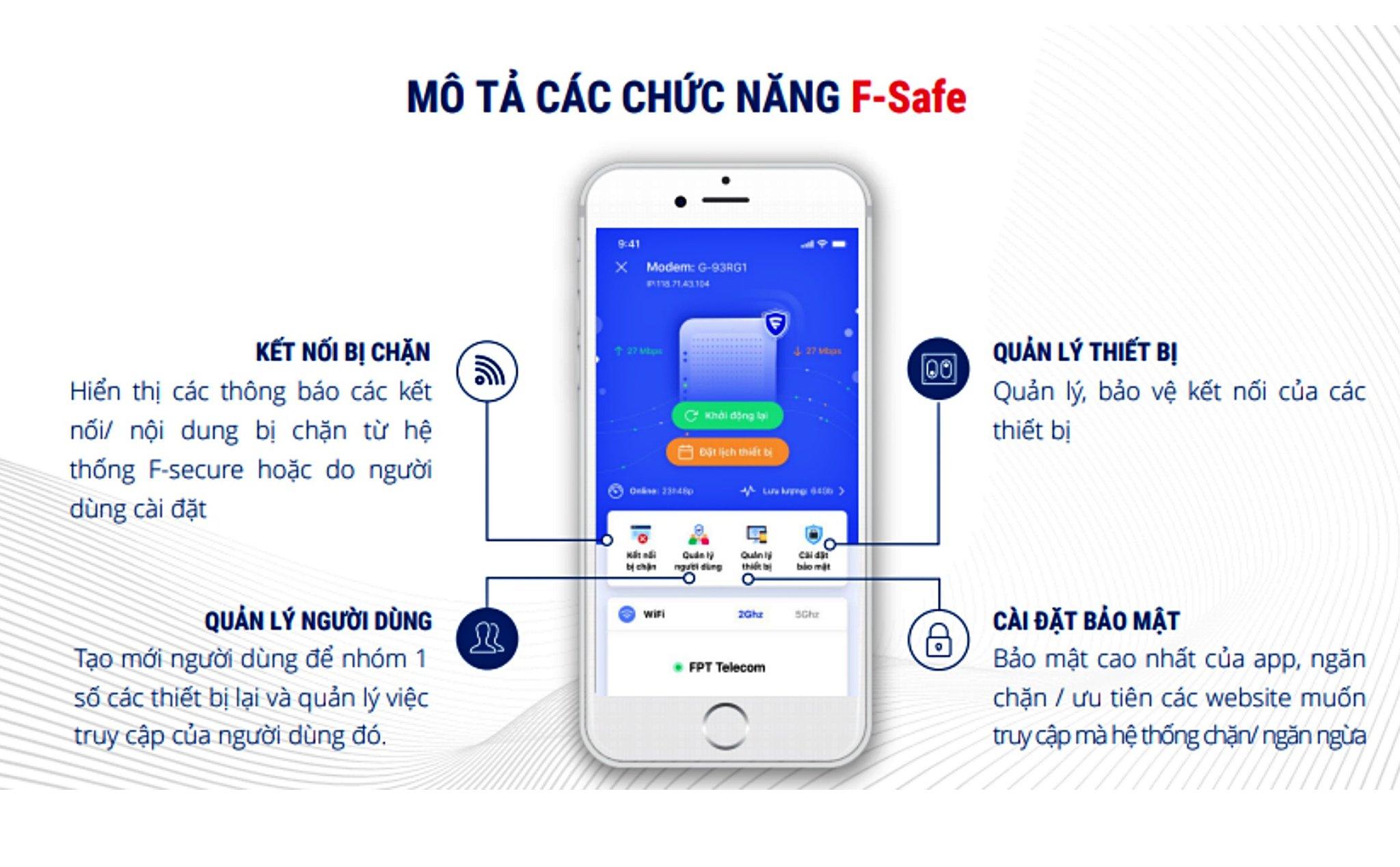 Bốn tính năng quản lý của F-Safe gồm: Xem kết nối bị chặn, quản lý người dùng, quản lý thiết bị, cài đặt bảo mật