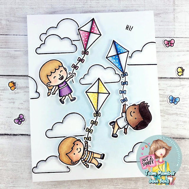 Sunny Studio Stamps: Spring Showers Customer Card by Jenn Bena