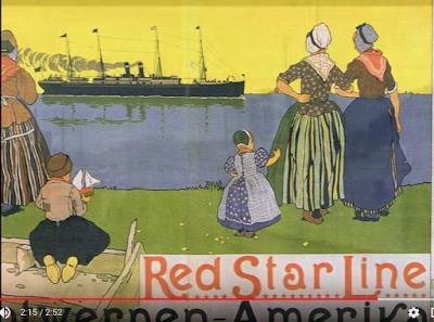 color drawing of people in Antwerp Belgium watching SS Kroonland Red Star Line