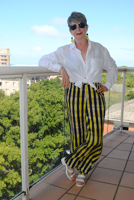 MY YELLOW STRIPY WIDE LEG PANTS