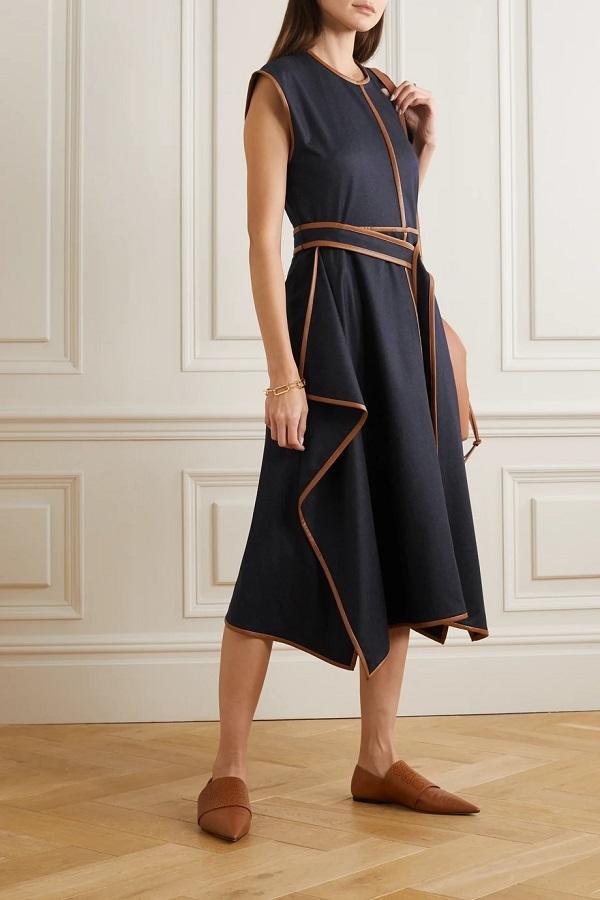 Queen Rania of Jordan wore Stella McCartney Eloise belted asymmetric vegetarian leather-trimmed wool-flannel dress