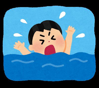 溺れている人のイラスト