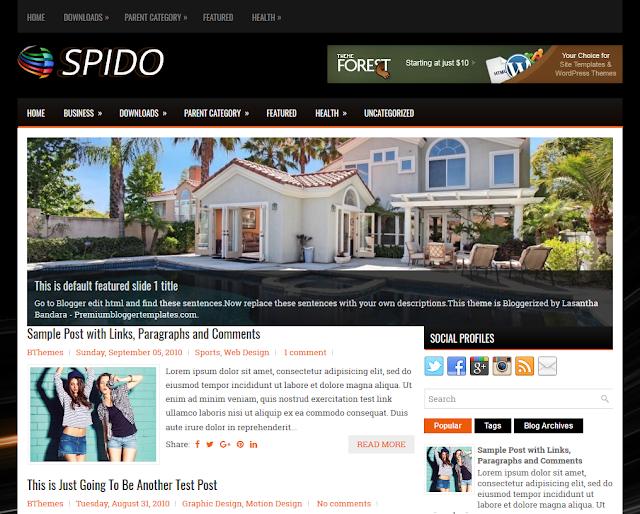 pido is a gratis blogger template amongst features such every bit  Free Download Spido Blogger Template