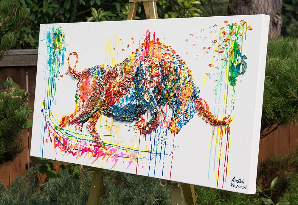 bull painting, bull acrylic, bull unique texture, thick layers bull, bull mixed media,  abstract bull, bull voznarski, mixed bull, bull on canvas, bull pop art, bull wall art, beautiful bull , red bull