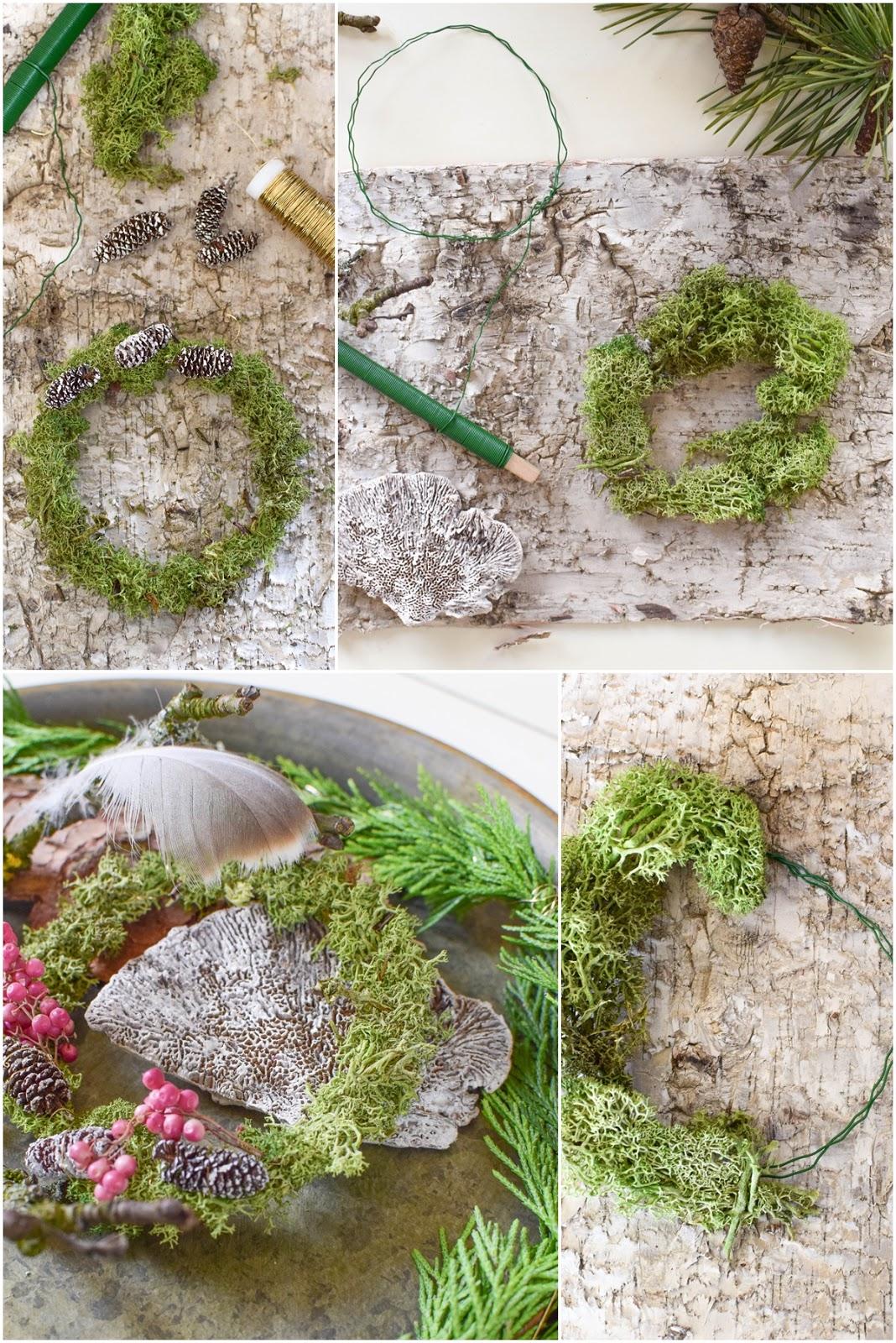 DIY Mini Mooskranz einfach selber machen. Selbstgemachter Kranz aus Moos: schnell und natürlich. Deko mit Natur, natürlich dekorieren mit Birke