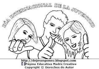 Dibujo del Día Internacional de la Juventud para colorear