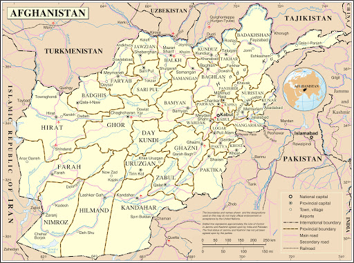 Printable Afghanistan Map with Cities