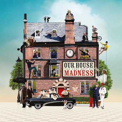 Various members of Madness in an assortment of costumes from their many albums appear in the windows of an old brick mansion, as well as in a car in front of it.