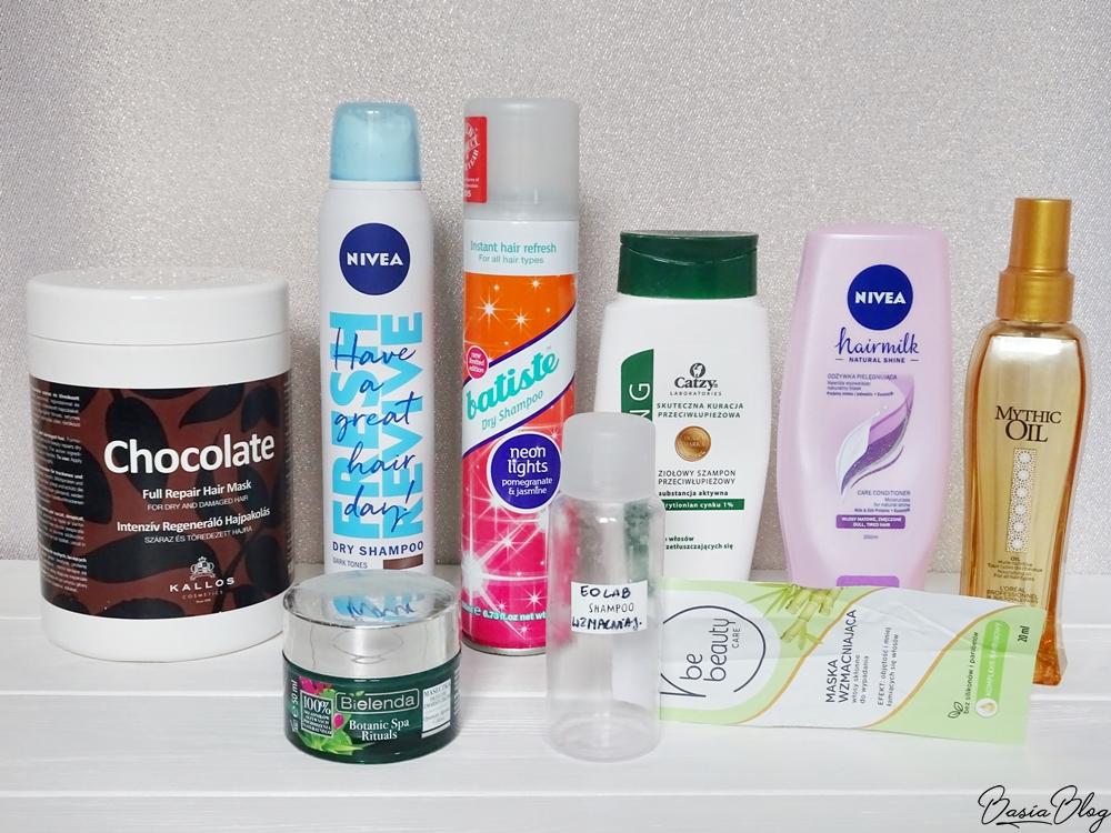 Maska do włosów Garnier Hair Food Banana, Be Beauty, maska wzmacniająca, L'Oreal Mythic Oil, Nivea Hairmilk odżywka do włosów, Batiste Neon Lights suchy szampon, Kallos Chocolate maska do włosów, Nivea suchy szampon dla brunetek, Ecolab, szampon wzmacniający, Catzy, przeciwłupieżowy szampon do włosów przetłuszczających się