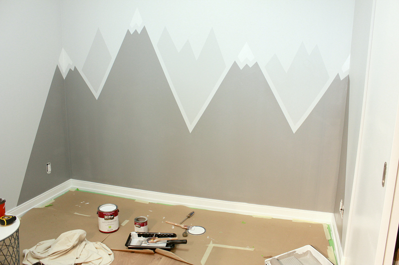 How to Paint a Simple DIY Mountain Wall Mural