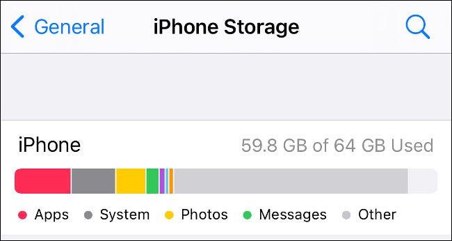 تحقق من التخزين على iPhone