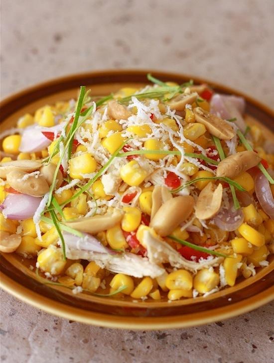 Thai Sweet Corn Salad with Kaffir Lime Leaves by SeasonWithSpice.com